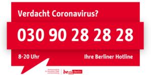 Verdacht Coronavirus? 03090282828
